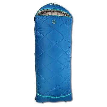 LESTRA Saco de dormir Athabaska Junior (Discovery Junior Series) 160 + 30 cm, azul y gris, Reißverschluss links: Amazon.es: Deportes y aire libre