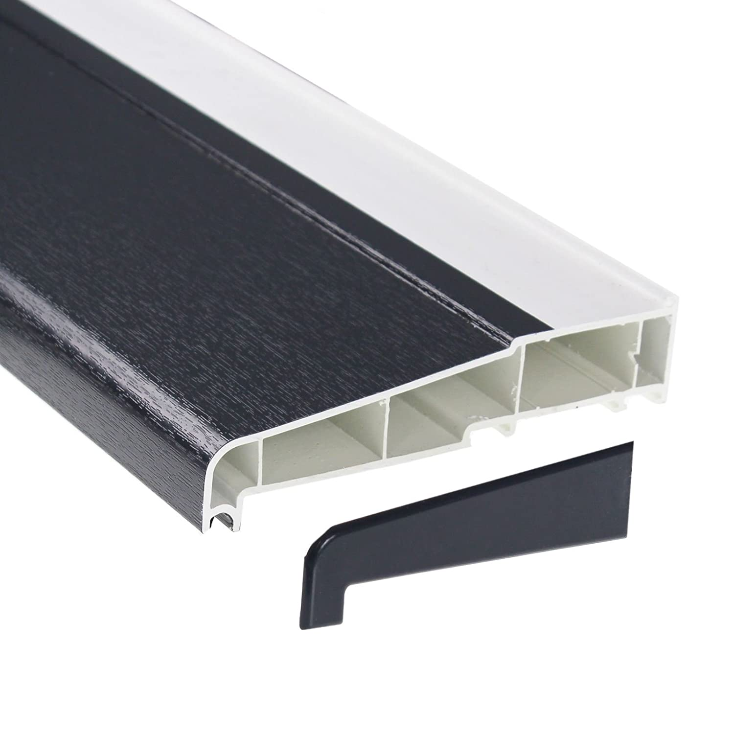 150mm x 1m Grey UPVC Plastic External Window Sill with 2 End Caps Eurocell