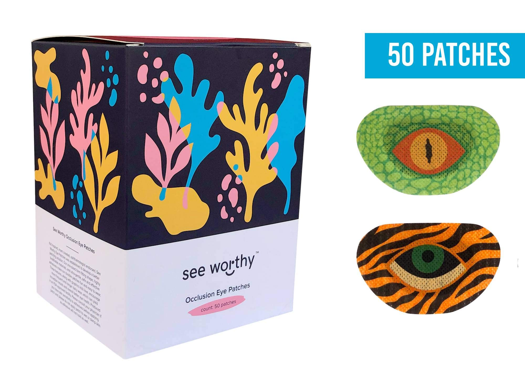 See Worthy Tiger and Lizard Adhesive Kids Eye Patches, Innovative Shape, Smart Adhesive Technology, Breathable Material and Fun Designs, (50 per Box) (Regular Size)