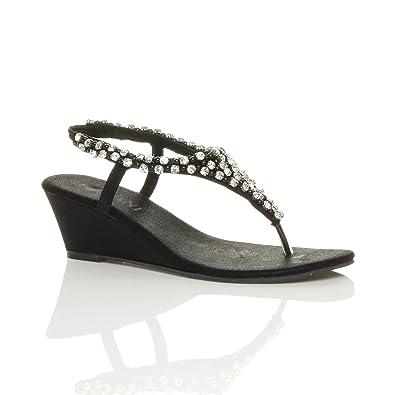 2b0eabc563e6d9 Womens ladies mid wedge heel slingback t-bar beaded diamante sandals size 3  36