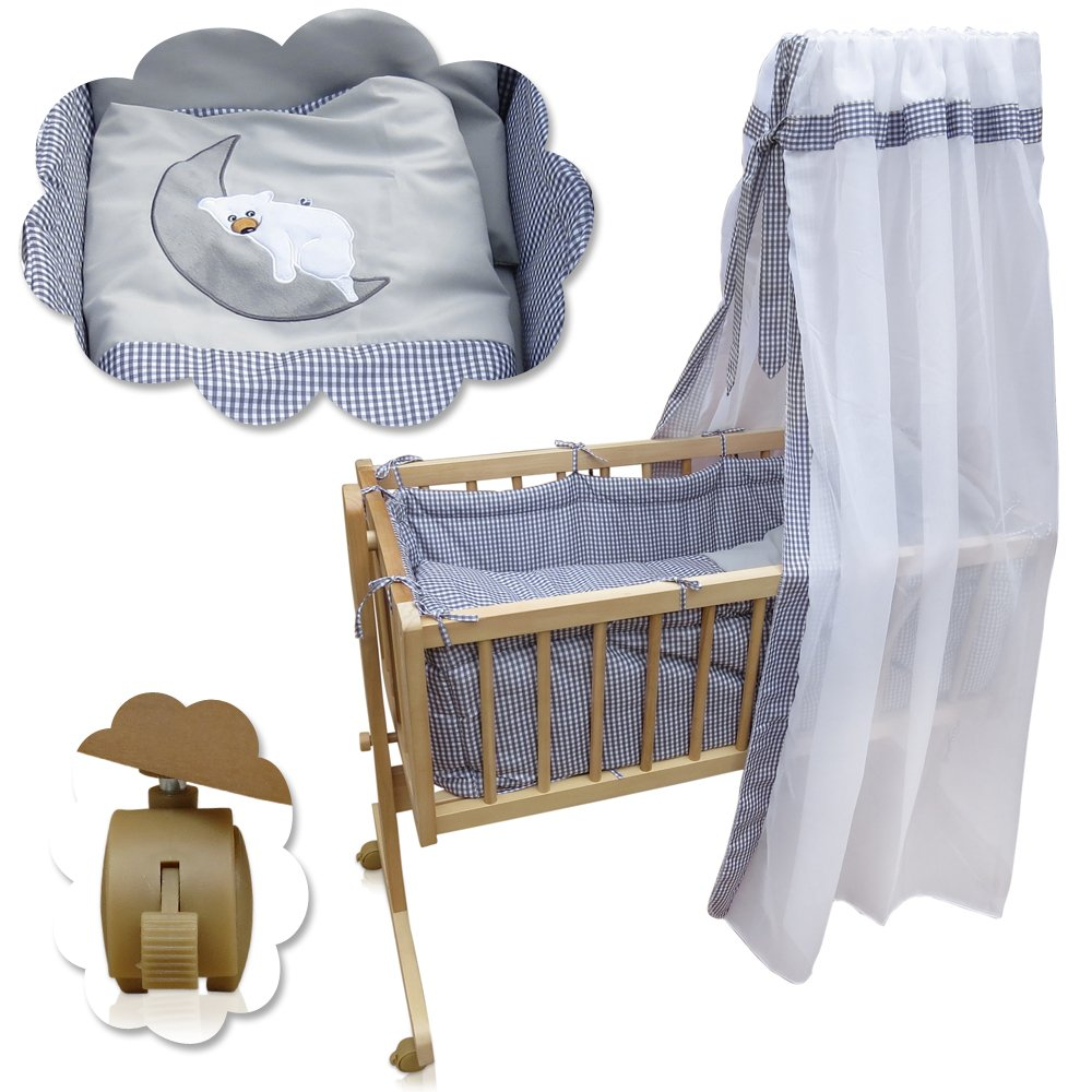 Babywiege Kinderbett Babybett Stubenwagen Beistellbett + 9 tlg. Zubehör Serina
