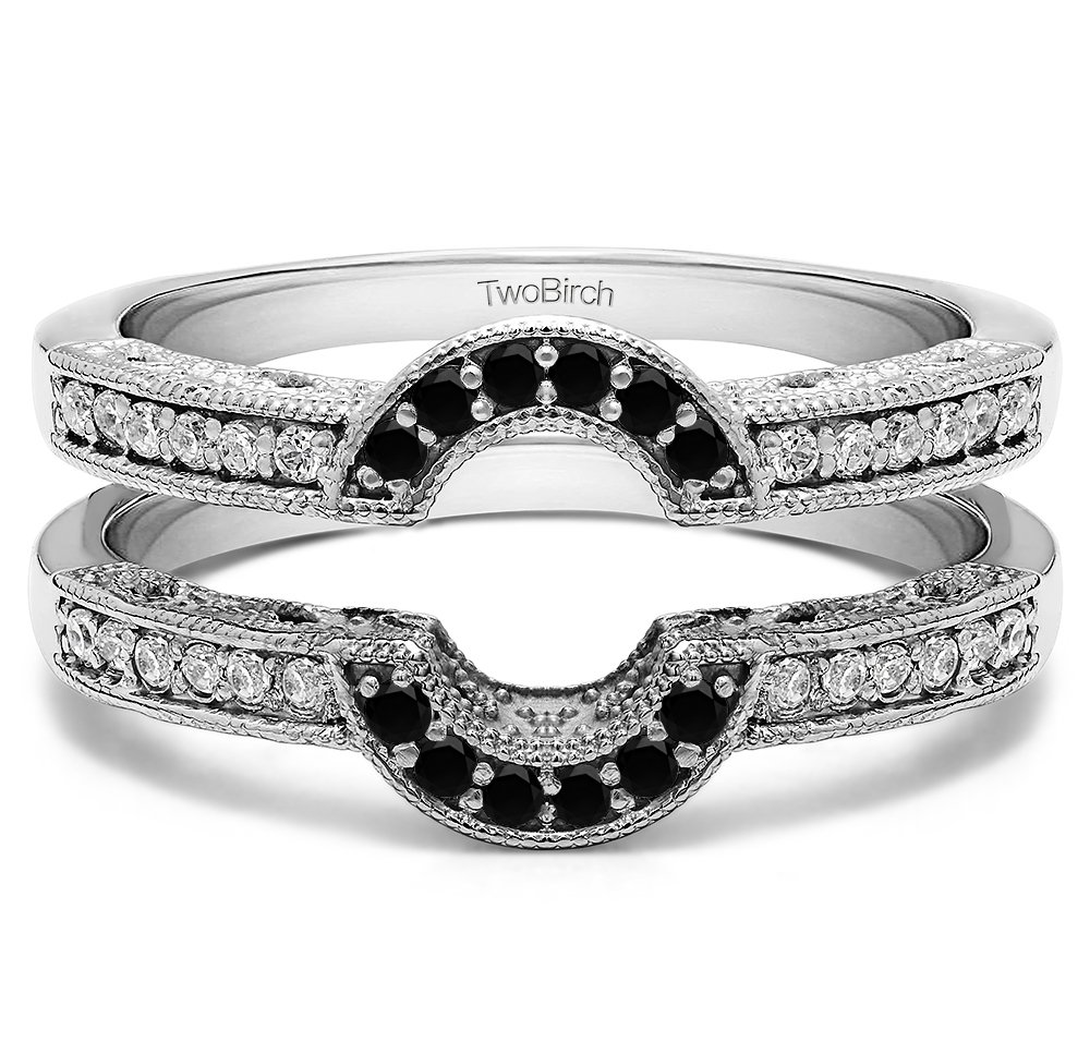 0.21 ct. Black And White Diamonds (G-H,I2-I3) Oval Shaped Halo Style Ring Guard in Sterling Silver (1/5 ct. twt.)