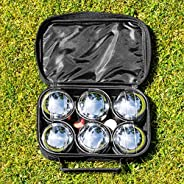 6 French Boules Set - Includes Chrome Plated Boules Balls, Cork Jack, Measuring Tool & Carry Bag - [Net Wo