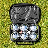Net World Sports 6 Piece Bocce Set - Includes Chrome Plated Bocce Balls, Cork Jack, Measuring Tool & Carry Bag