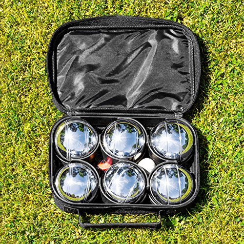 Net World Sports 6 Piece Bocce Set - Includes Chrome Plated Bocce Balls, Cork Jack, Measuring Tool & Carry Bag by Net World Sports