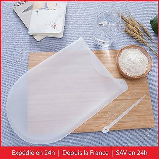 ✮ Cuisineduchef ✮ Bolsa de amasar de silicona, multifunción y antiadhesiva, reutilizable, ideal para preparar masas de pan, de pizza, pasteles, ...