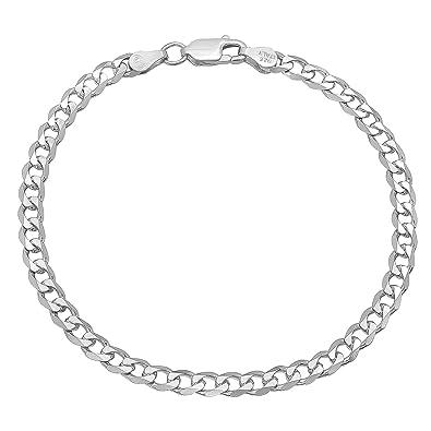 3.5mm 925 Sterling Silver Nickel-Free Beveled Cuban Curb Link Italian Chain + Bonus Polishing Cloth atyYLK