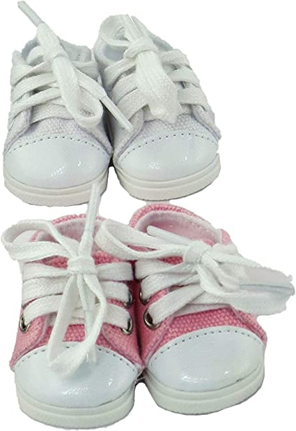 "Pink Canvas Sneakers Fits Wellie Wishers 14.5/"" American Girl Clothes Shoes"