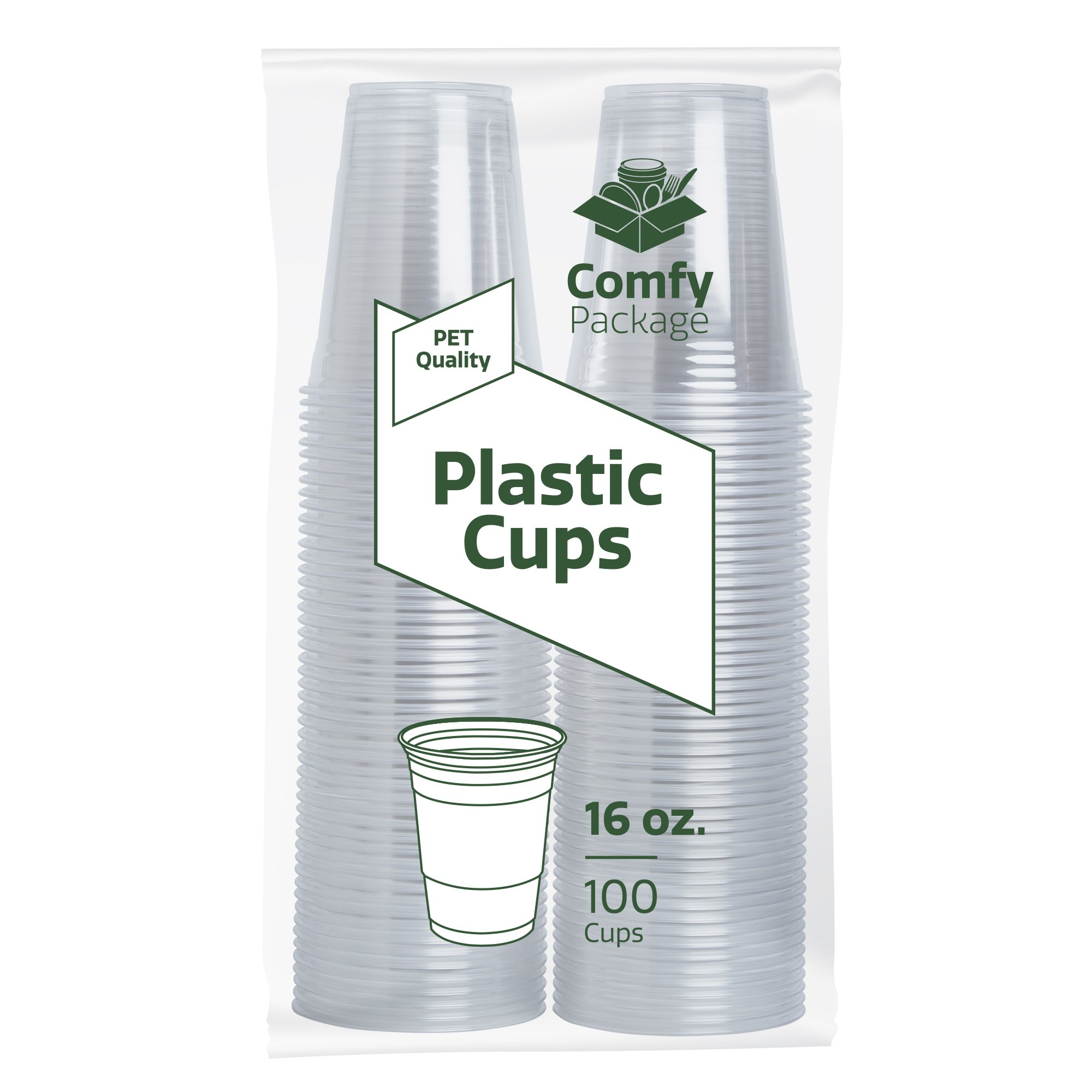 16 oz. Crystal Clear PET Plastic Cups [100 Pack] by Comfy Package (Image #3)