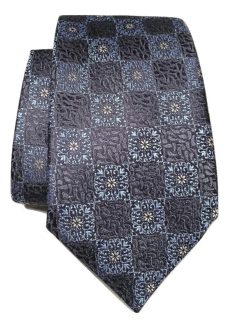 Ermenegildo Zegna Medallion Print Navy Silk Tie