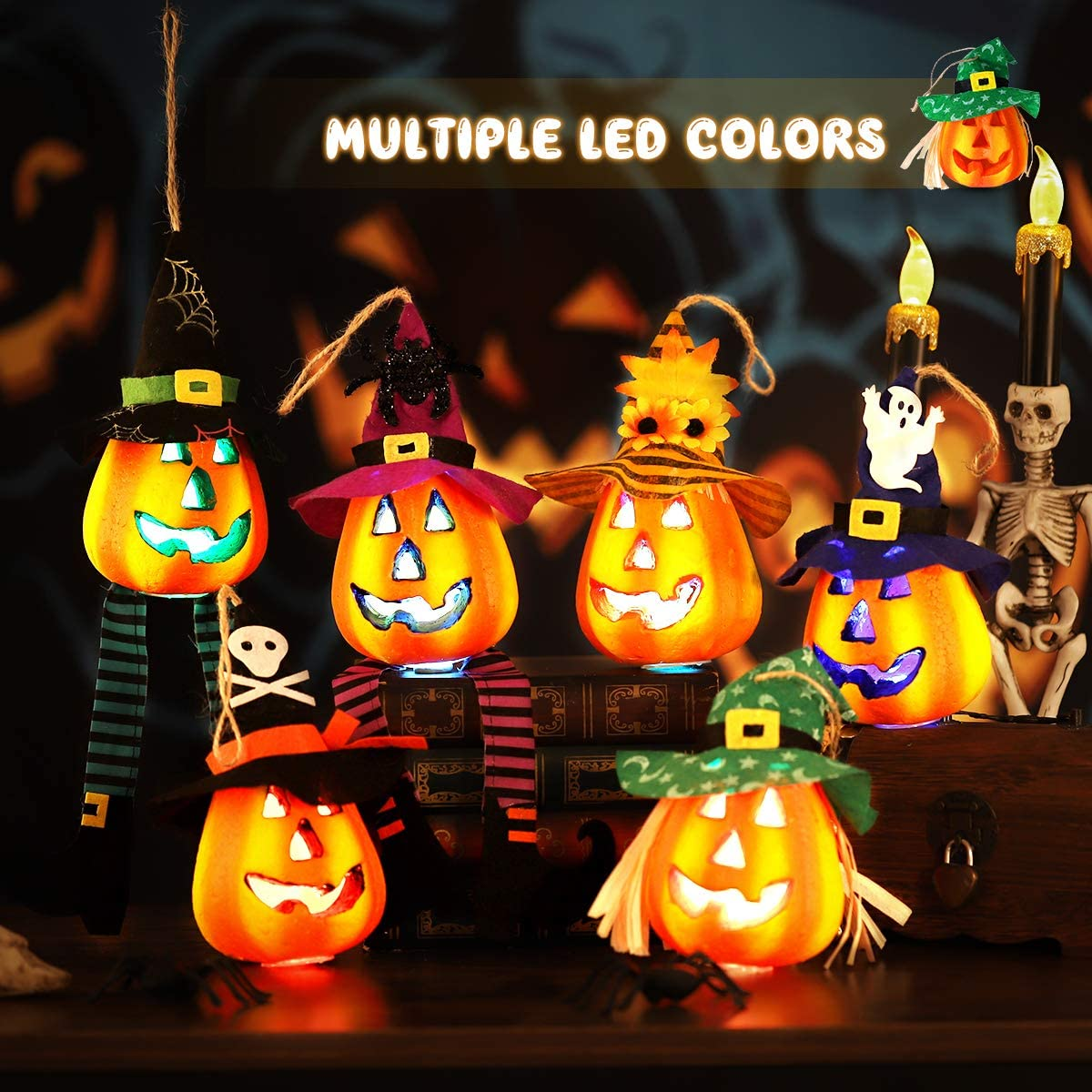 Halloween Pumpkin Lanterns, Light Up Foam Pumpkin Jacko Lanterns Halloween Lamps for Halloween Decorations, 6 Pack
