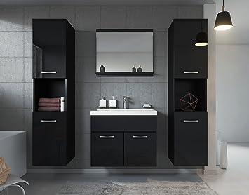 Badezimmer Badmöbel Montreal XL 60 cm Waschbecken Schwarz Hochglanz ...
