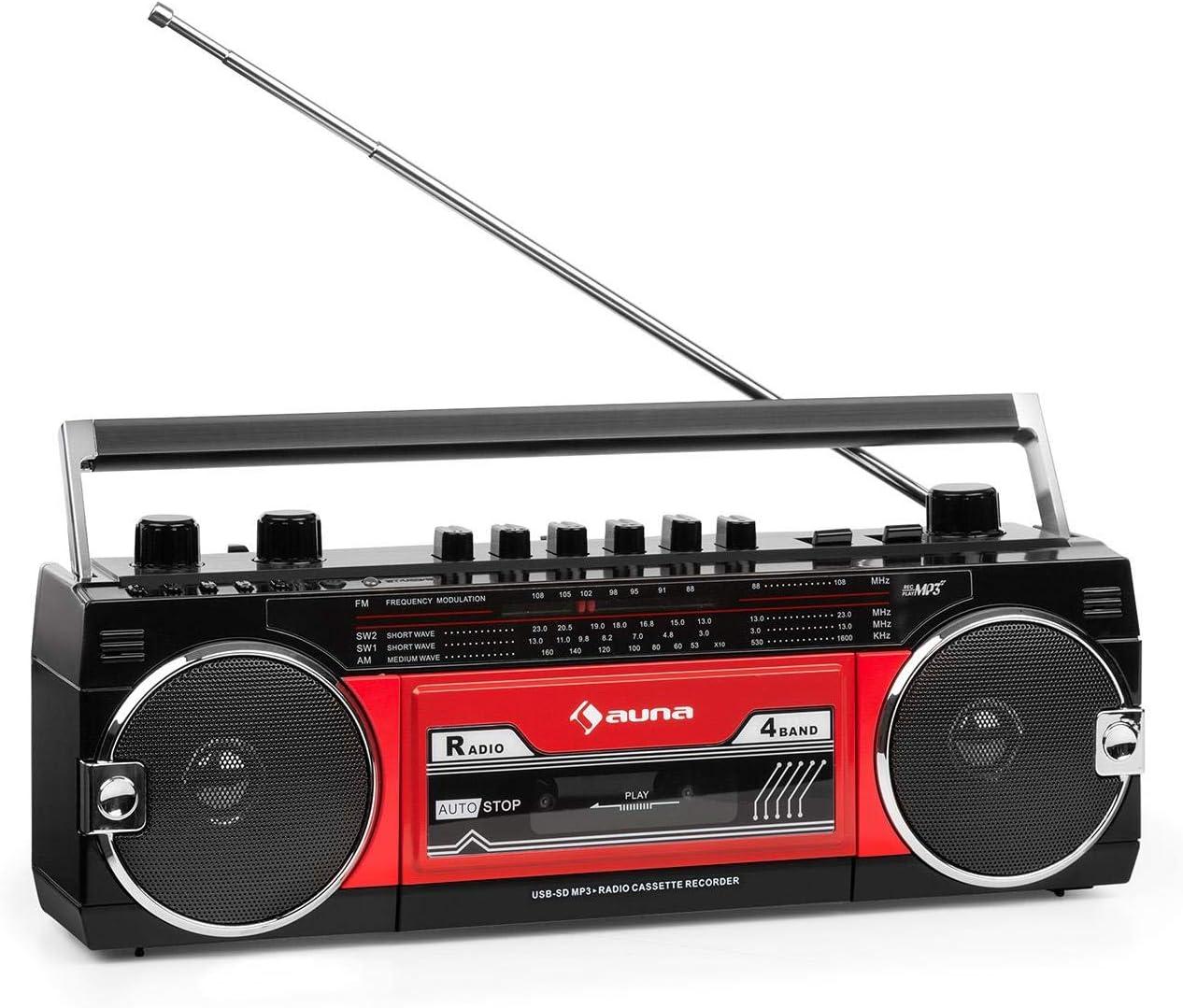 Auna Duke MKII Radiocasete - Bluetooth , Codificación Directa del Cassette al USB/SD , 4 Bandas Radio: FM, MW, SW1, SW2 , Antena telescópica , USB , Ranura SD, Enchufe y Hueco para Pilas , Negra/roja