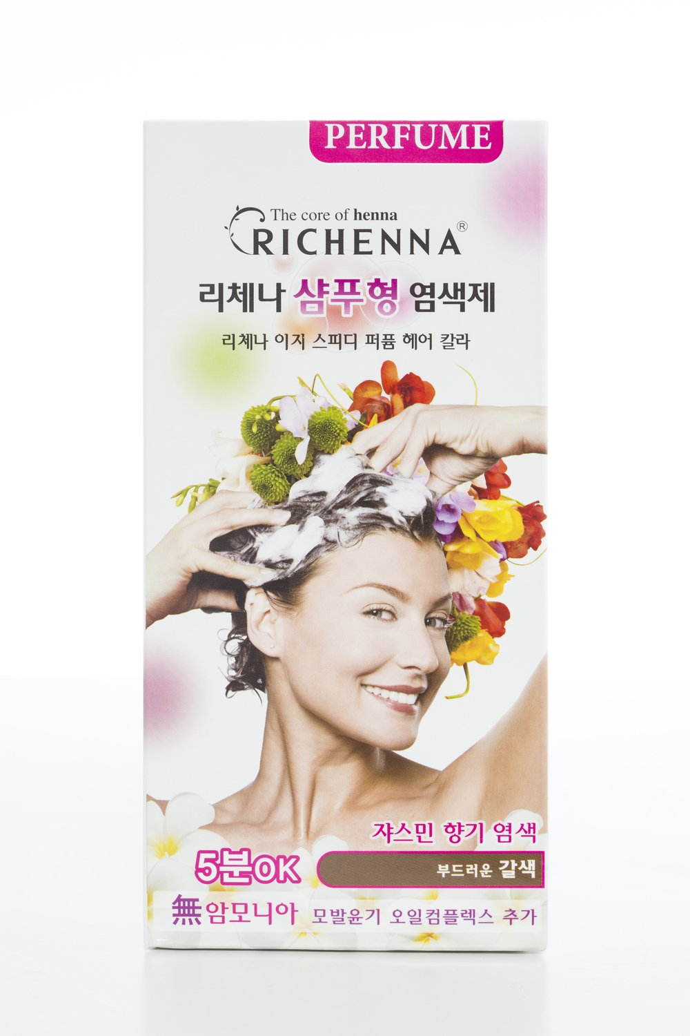 Richenna shampoo type perfume permanent hair color (NATURAL BROWN NO.4)