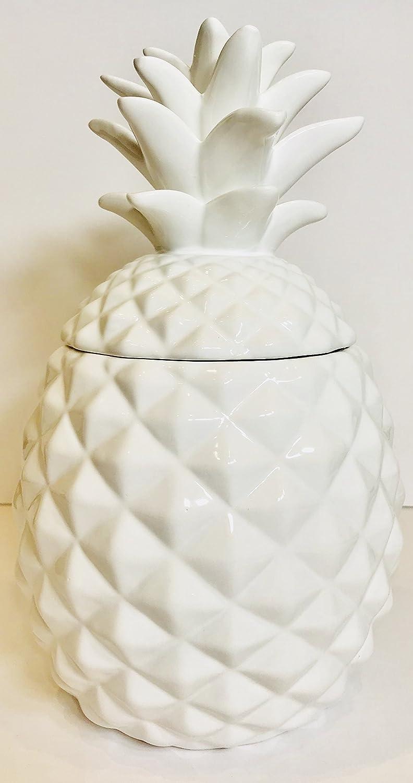 Ceramic Airtight Pineapple Cookie Jar Storage Container Large - White WM