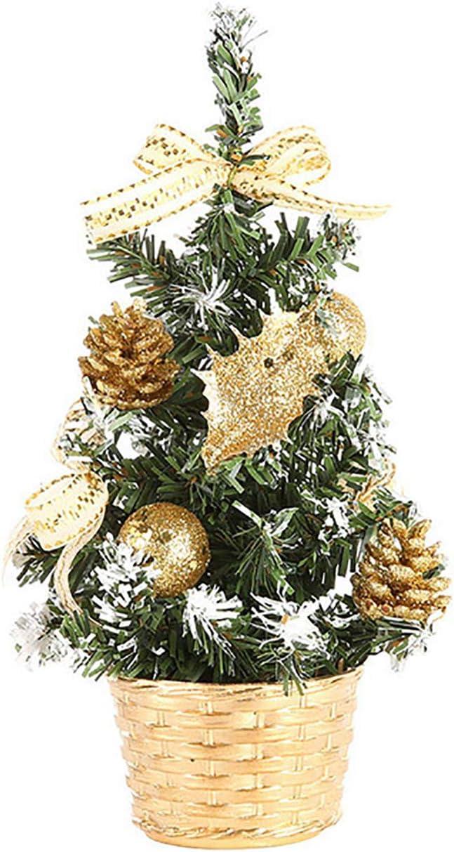 ShiyiUP Decoración de Navidad Mini Árbol de Navidad Decoración de Mesa Dorado 20cm