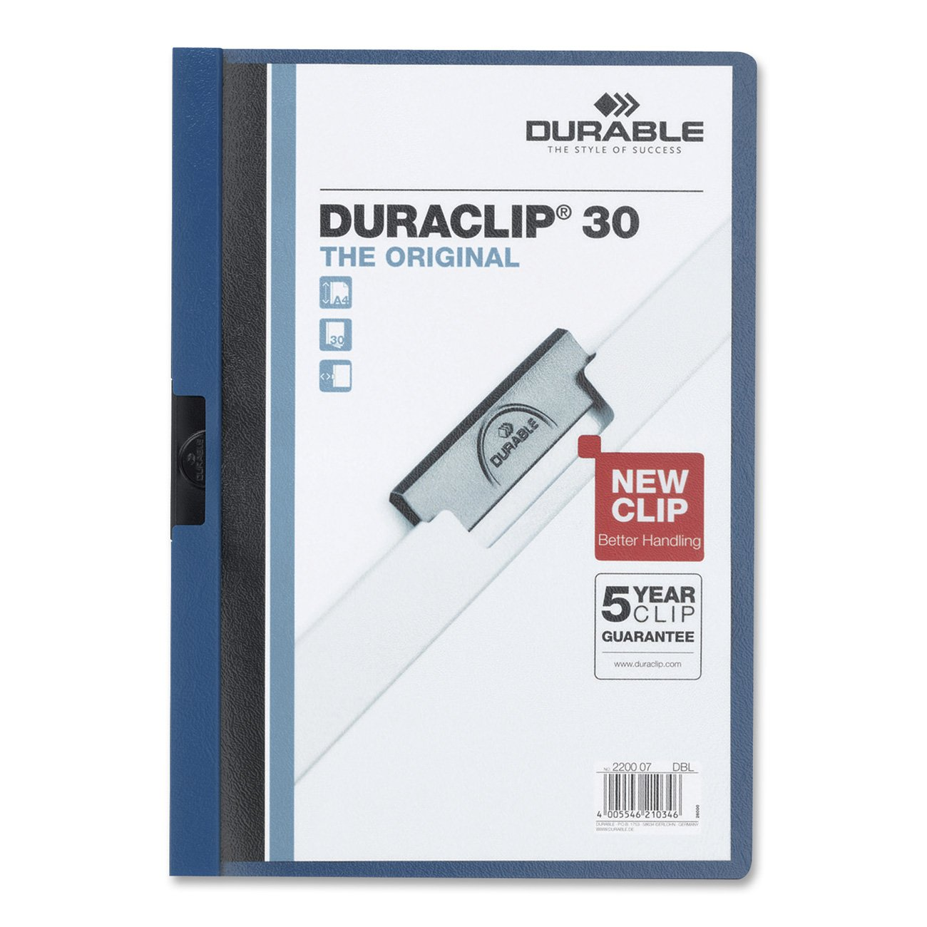 Durable Vinyl DuraClip Report Cover, Letter, Holds 30 Pages, Clear/Dark Blue (2203-DB) DBL220307