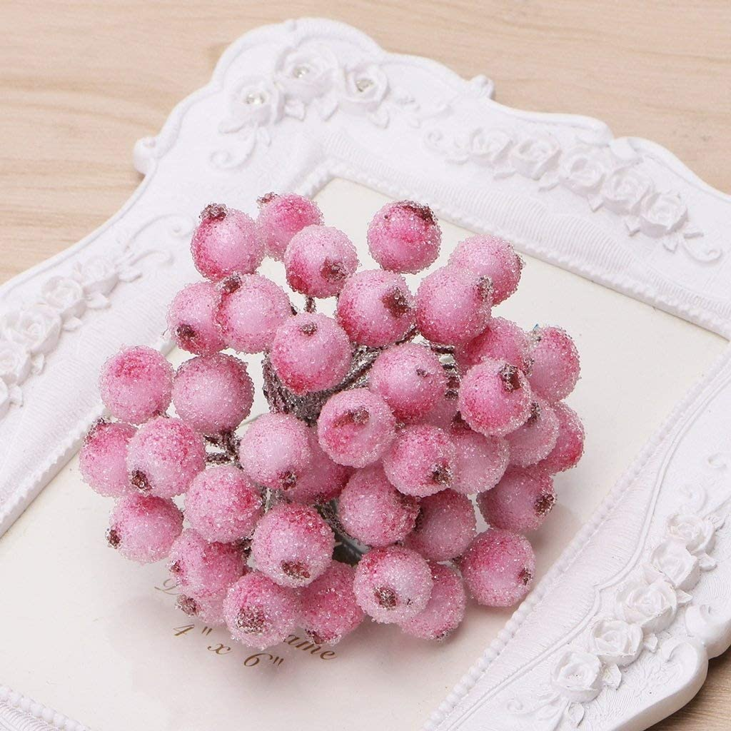 BecauseOf 40 Pcs Decorative Artificial Frosted Berry Holly for DIY Garland Festival Ornaments Pink