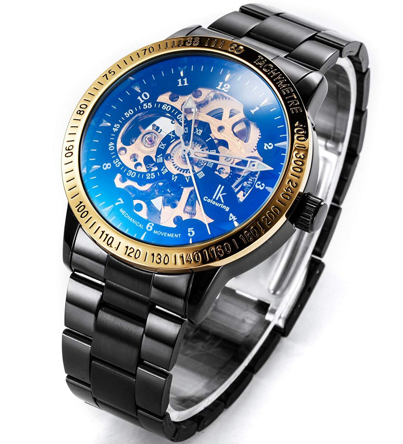 Carrie Hughes Men's Steampunk Automatic Mechanical Discoloration Glass Skeleton Stainless Steel Watch 5