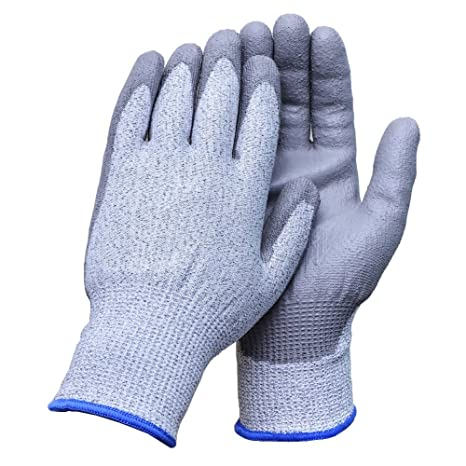 Aituo 1 Pair Pu Coated Cut Resistant Gloves Safety Protective En388 Cut Level 5 Protection Anti-slash Kitchen or Industry Cut Safe Work Gloves Meidum-Blue by Aituo