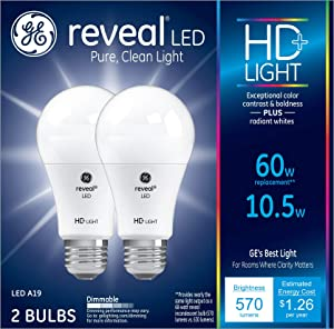 GE Lighting 98595 Bulb Reveal HD Pure Clean Light Dimmable LED A19 10.5 (60-Watt Replacement), 570-Lumen Medium Base, 2-Pack, 2 Piece