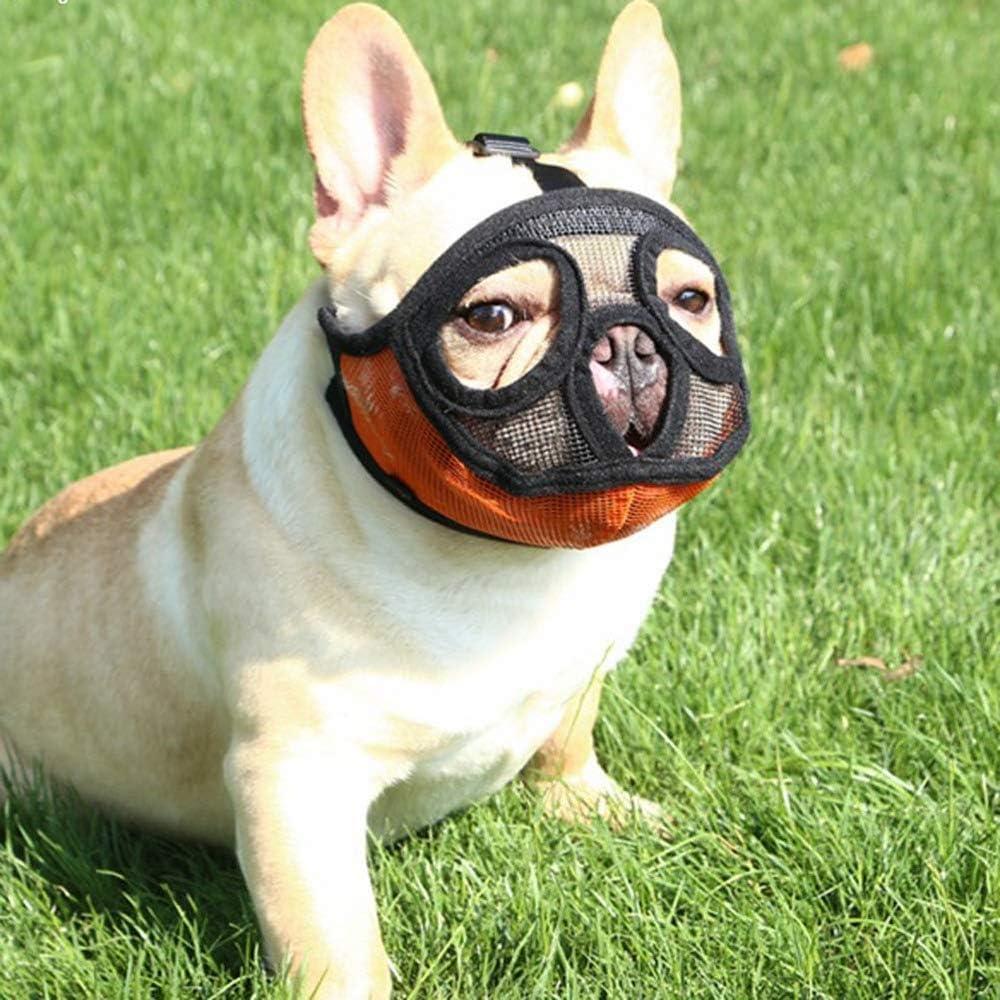 PETEMOO Bozal Corto para Perro con Forma de Bulldog de Malla Transpirable Ajustable para mascarar, Cortar y Entrenar a Perros