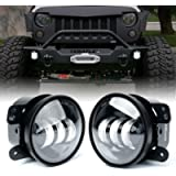 Xprite 4 Inch LED Fog Lights for 2007-2018 Jeep Wrangler JK Unlimited JK   Front Bumper Replacements 60W White CREE Led…