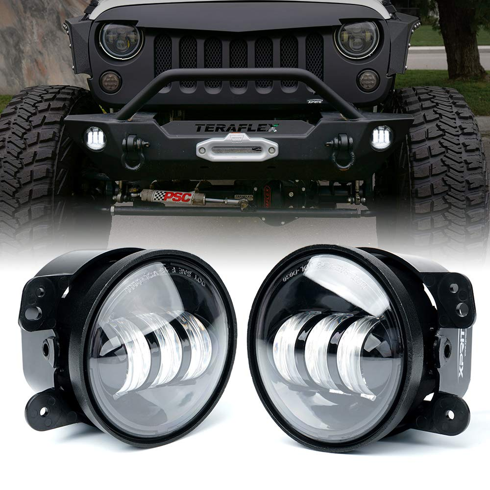 Xprite 4 Inch LED Fog Lights for 2007-2018 Jeep Wrangler JK Unlimited JK | Front Bumper Replacements 60W White CREE Led Chip Driving Offroad Foglights
