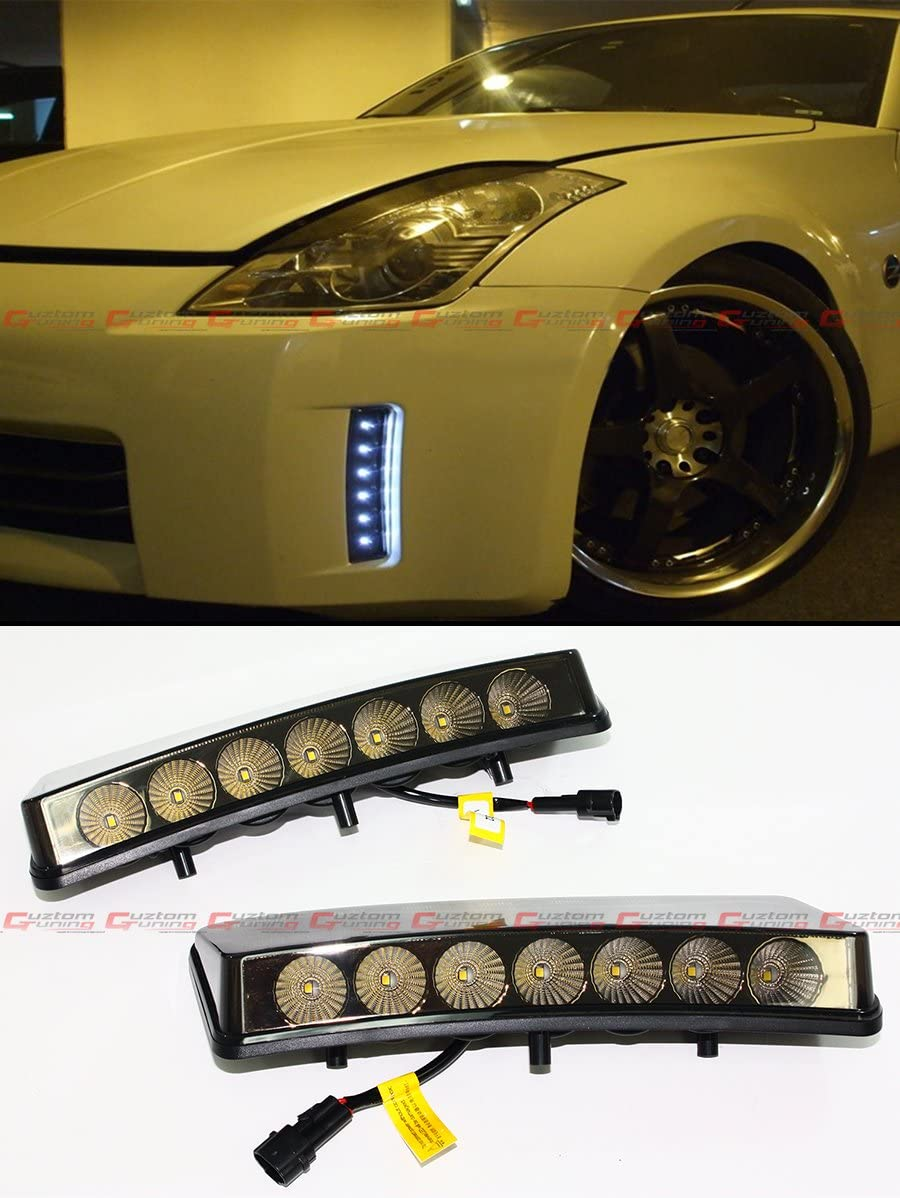 Fits for 2003-2005 Nissan 350Z Bumper Reflector Smoke Lens LED Day Time Running Light DRL