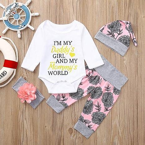 Ropa Bebé, ❤ Modaworld Recién Nacido Infantil Bebé niños niñas Carta Letter Romper Tops Pantalones Florales Sombreros Bebé Conjunto de Trajes de Ropa: ...