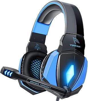 Todo para el streamer: YINSAN Cascos Gaming, Auriculares Premium Stereo con Micrófono, Luz LED y Control Volumen, Diadema Acolchada y Ajustable para PS4/Xbox One X/S/PC/Laptop/Tablet
