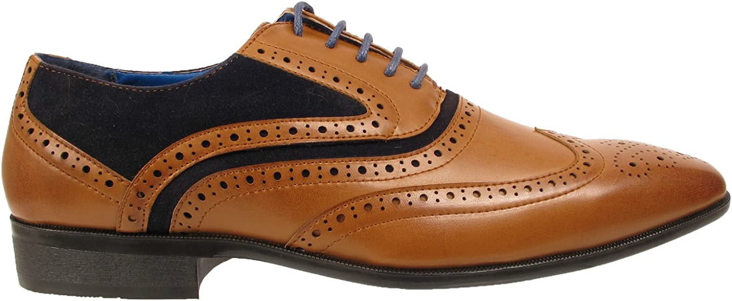 Mens Casual Two Tone Formal Office Smart Work Lace Up Oxford Brogue Shoes Charles Southwell