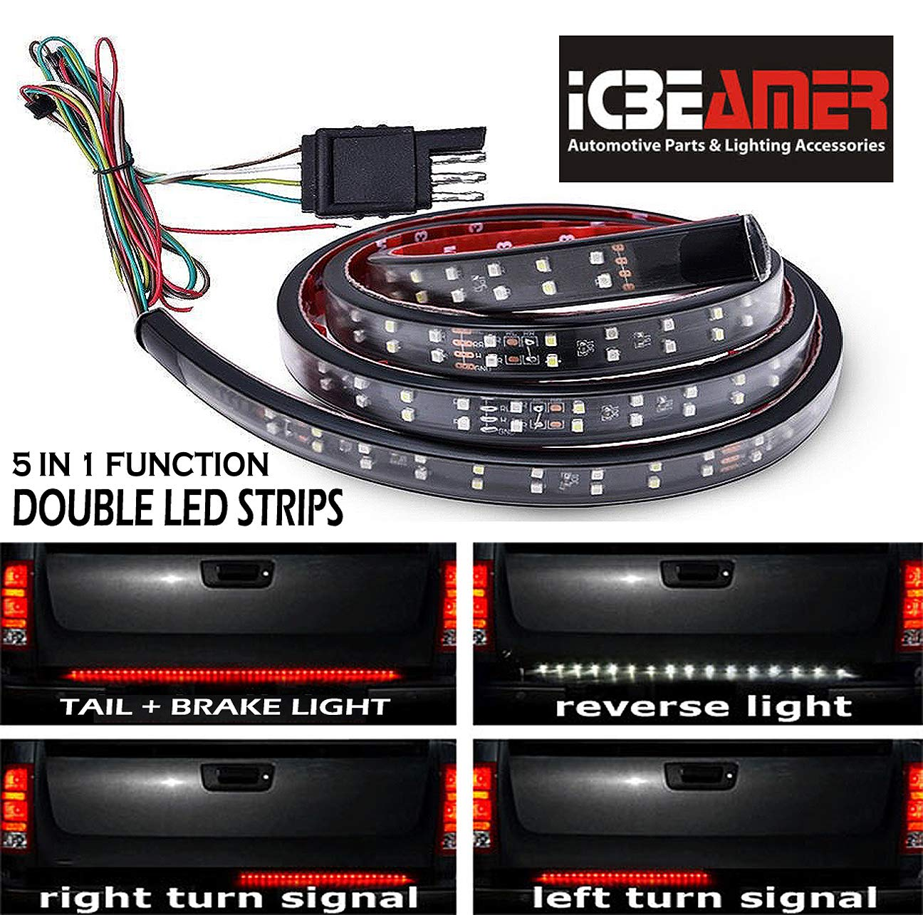 "ICBEAMER 5-Function 60"" 2 Row LED Truck Tailgate Side Bed Light Strip Bar Waterproof Reverse Turn Signal, Parking, Brake"