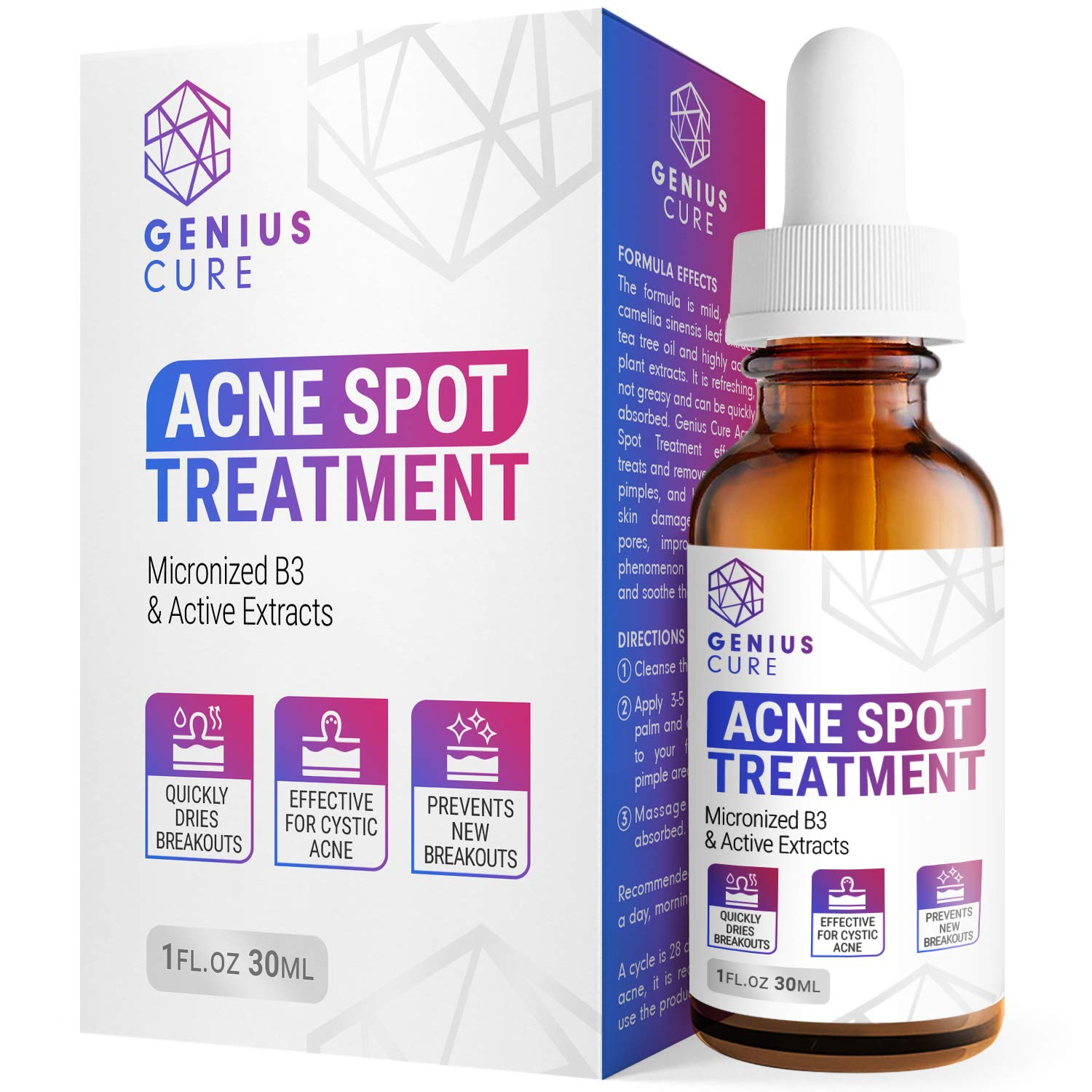 Amazon Com Genius Acne Spot Treatment Serum For Acne Prone Skin Mild Moderate Severe Cystic Acne Premium Tea Tree Oil Plant Extracts Vitamin E Prevent Future Breakouts 1fl Oz Beauty
