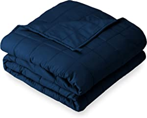 """Bare Home Weighted Blanket for Adults and Kids 17lb (60"""" x 80"""") - All-Natural 100% Cotton - Premium Heavy Blanket Nontoxic Glass Beads (Dark Blue, 60""""x80"""")"""