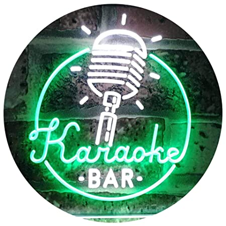 AdvpPro 2C Karaoke Bar Microphone Dual Color LED Neon Sign White & Green 300mm x 210mm st6s32-i2843-wg