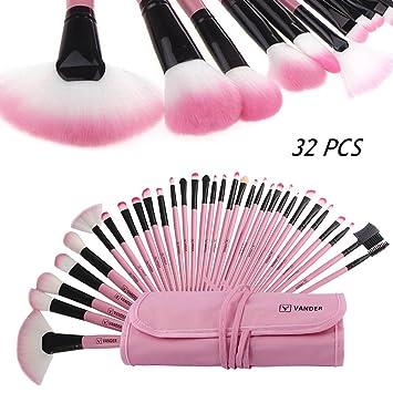 Brochas maquillaje profesional Vander 32pcs, set de cepillos de maquillaje coméstico para sombra de ojos, colorete, polvo y cejas con bolsa de viaje (...