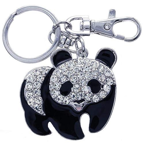 Blanco Negro Oso Panda llavero animales llavero colgante ...