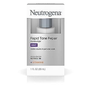 Neutrogena Rapid Tone Repair Night Moisturizer with Retinol, Vitamin C and Hyaluronic Acid Targets Dark Spots and Brightens Skin Tone, 1 fl. oz