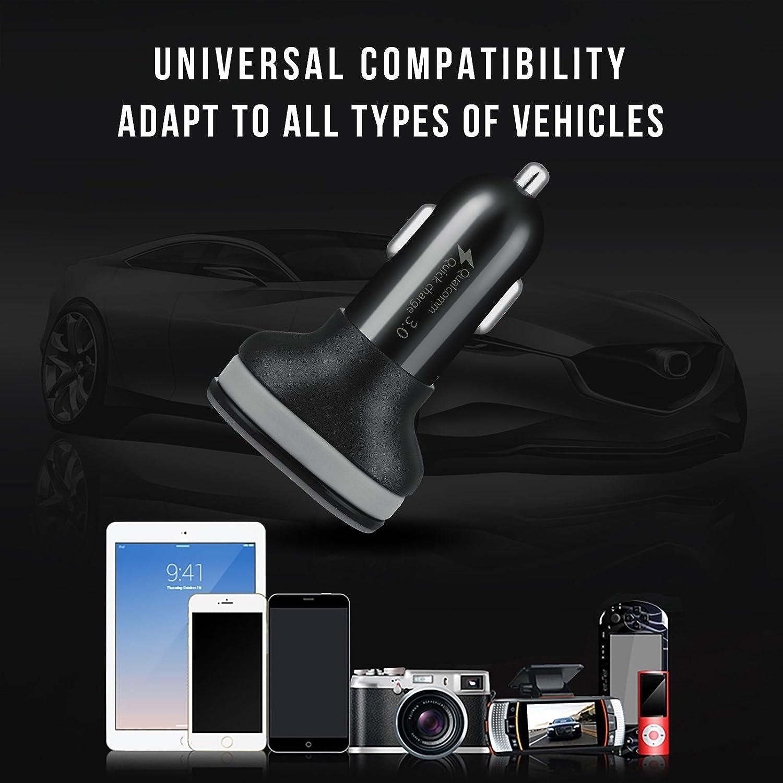 iPad Pro//air2//Mini qc3.0 para iPhone X//8//7//6//Plus HTC Power Banks integrado /& Android Cable zeonetak Dual USB de carga r/ápida 5 V3 A Cargador de Auto Nexus Tablet galaxy s8