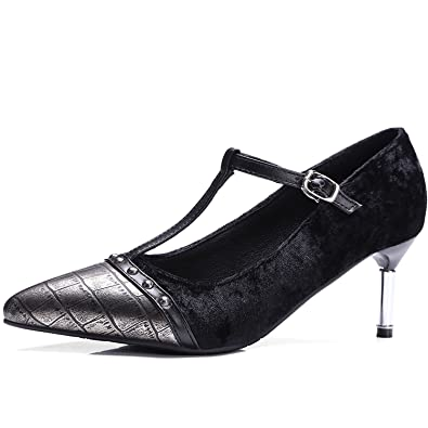 06a70b1ad9b KingRover Women s Fashion PU Rivet Vamps Ankle Buckle T-Strap Pointed Toe  Pumps Mary Jane