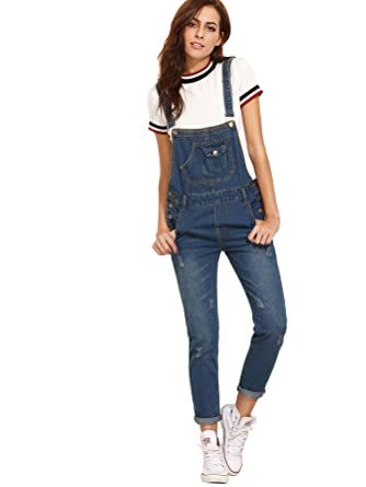 6a5874ca650 Verdusa Womens  Casual Adjustable Strap Ripped Denim Overalls Jumpsuit Blue  S