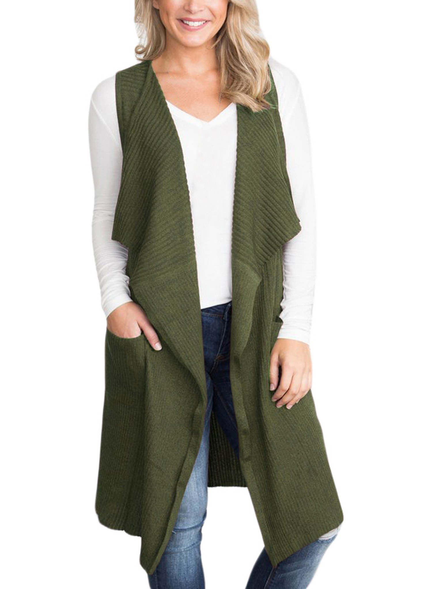 Sidefeel Women Sleeveless Open Front Knitted Long Cardigan Sweater Vest Pocket X-Large Army Green
