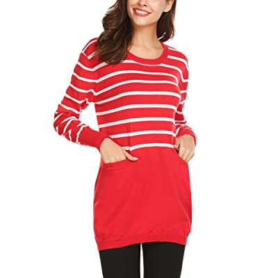 Zeagoo Women's Striped Long Sleeve Crew Neck Knit Sweater Pullover Tunic With Pocket