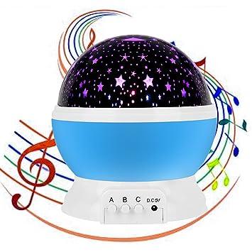 Stern-Nachtlicht-Projektor mit Musik, USB aufladbare Carryme 4 Modi ...