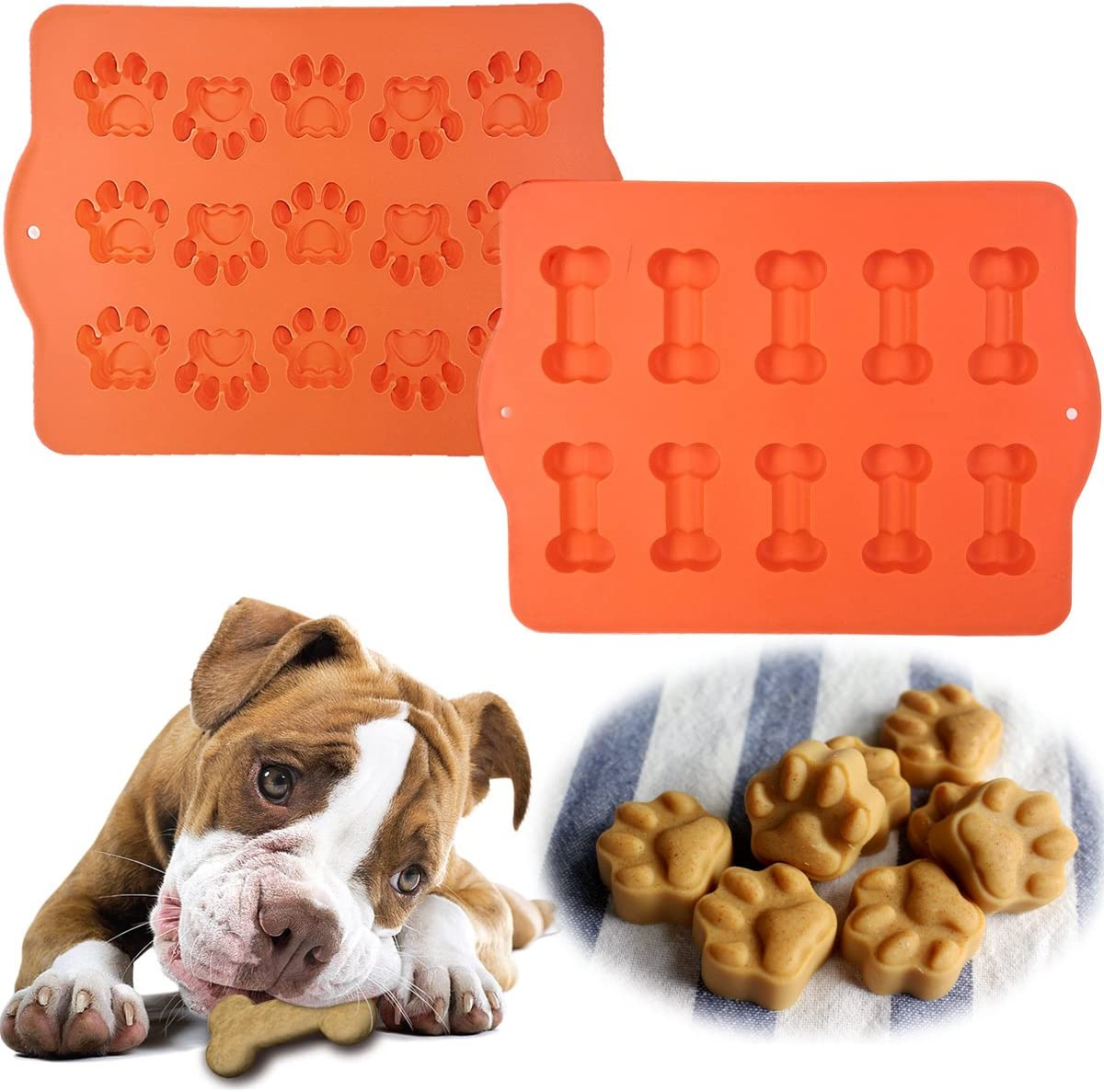 Hugs (2 Pack) Silicone Dog Treat Pans, 1 Bone Tray & 1 Paw Print Tray, Baking Molds For Pets, Freezer Tray Or Oven Sheet
