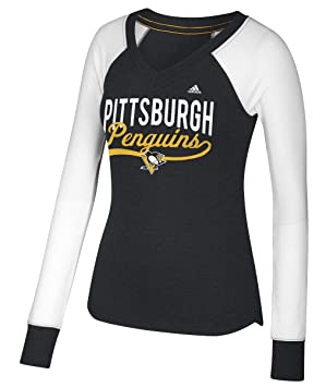 Adidas de la Mujer Pittsburgh Penguins NHL Puck Drop Doble Mezcla Camiseta de Manga Larga: Amazon.es: Deportes y aire libre