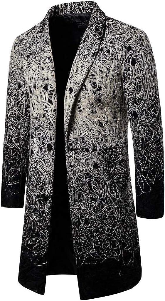 Fxbar Mens Slim Long Patchwork Coat Color Trim Outwear Coat Turn-Down Collar Single Breasted Casual Coat