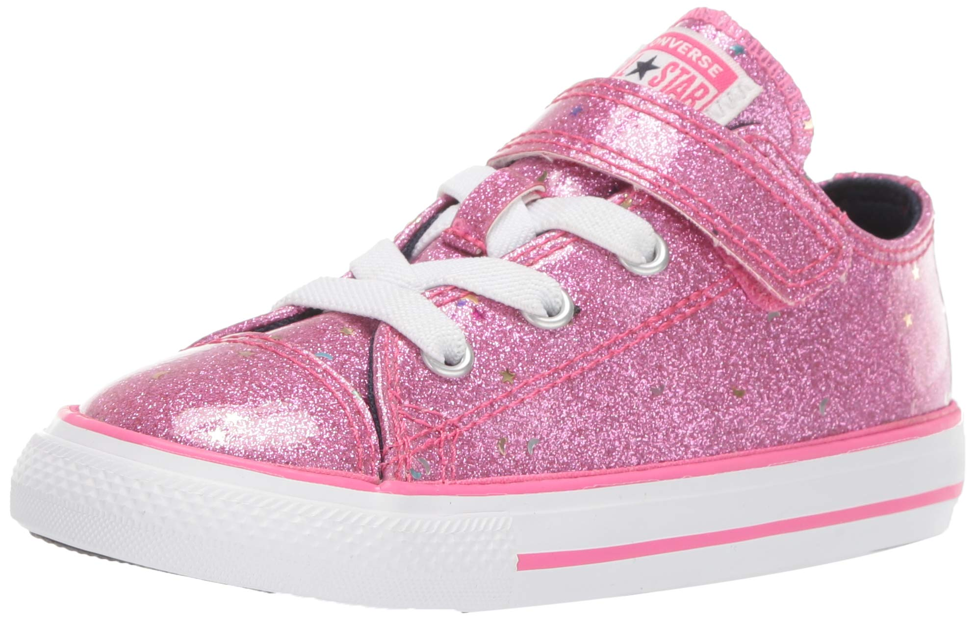 Converse Girls' Chuck Taylor All Star 1V Galaxy Glimmer Sneaker, Mod Pink/Obsidian/White, 8 M US Toddler by Converse