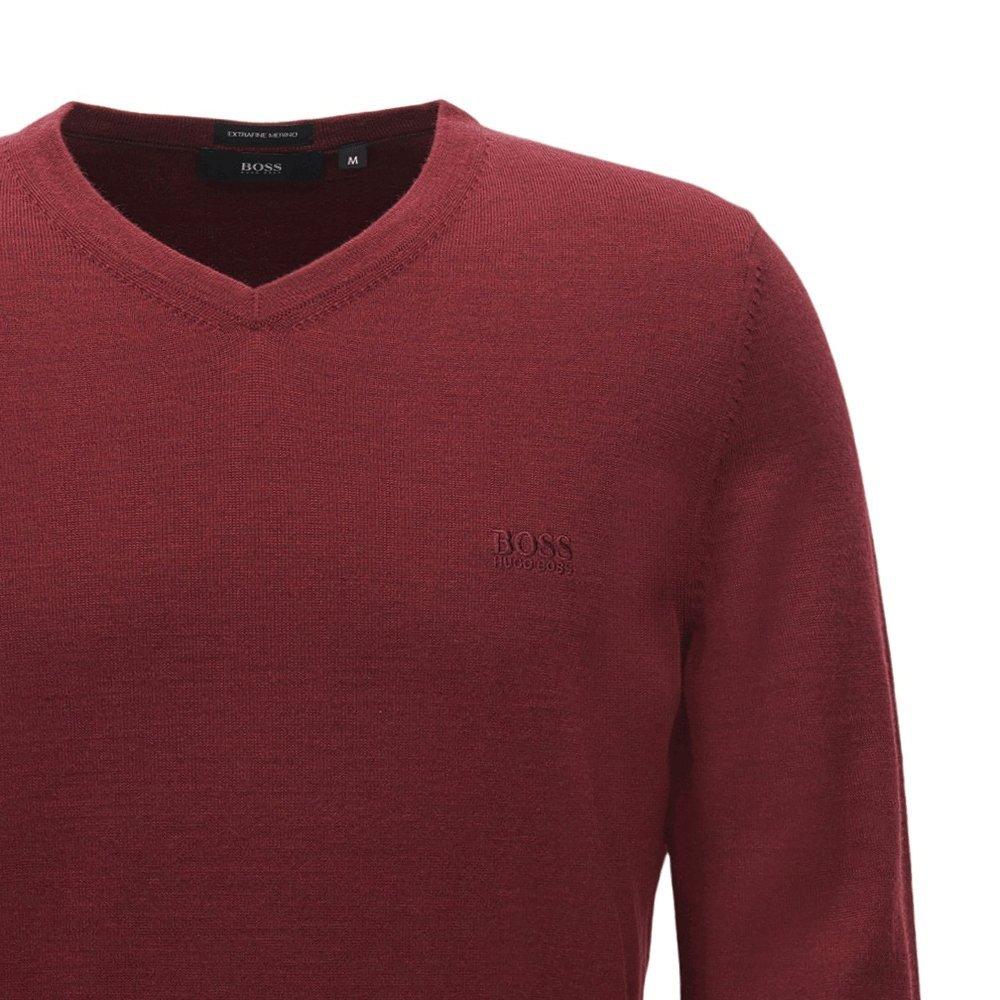 bd048b3105a Hugo Boss Baram-L Fine Knit V Neck Jumper Black 001 50373737  Amazon.co.uk   Clothing